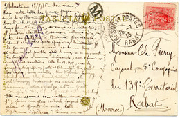 ESPAGNE.1916.CARTE POSTALE Pour Le MAROC.VARIETE.TRESOR ET POSTES RABAT. - Covers & Documents