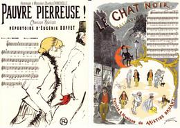 """2 Cartes De TOULOUSE-LAUTREC Et STEINLEN  : Paroles Et Musique De Chansons """"Pauvre Pierreuse"""" & """"Le Chat Noir"""" - Zonder Classificatie"""