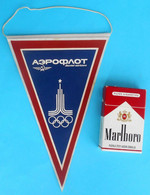 OLYMPIC GAMES MOSCOW 1980 - Nice Original Vintage Olympics Pennant * Olympiad Olympiade Olympia Olimpici AEROFLOT - Kleding, Souvenirs & Andere