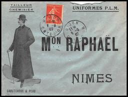 53165 Semeuse N°138 Dijon Cote D'or Cad A4 Daguin 1907 Maison Raphael Nimes Gard Tailleur Confection Enveloppe Illustree - Postmark Collection (Covers)