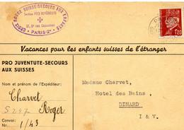 """FRANCE-SUISSE.1943. CARTE """"CROIX-ROUGE SUISSE A PARIS.SECOURS AUX ENFANTS"""". - Covers & Documents"""