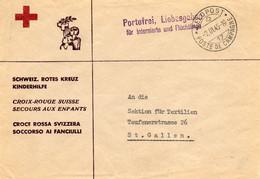 SUISSE.1945. LETTRE CROIX-ROUGE.FRANCHISE MILITAIRE.INTERNES ET REFUGIES. - Postmarks