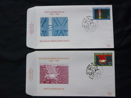 "BELG.1985 2167 & 2168 FDC  ( Aalst ) : "" Werkliedenpartij  / Parti Ouvrier Belge "" - FDC"