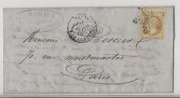 Lettre De 1869, Asnières à Paris, Affranchie Avec Timbre N°28, Oblitération étoile - 1849-1876: Periodo Clásico