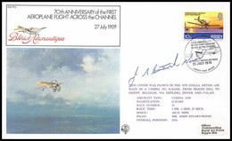 0761 Lettre Airmail Cover Luftpost Signé Signed Jersey Jersey First Aeroplane Flight Across The Channel 25/7/1979 - Airplanes
