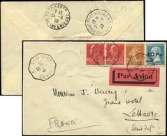 """Let POSTE AERIENNE - 4   10Fr. Sur 1f.50 Bleu, Pasteur """"ILE DE FRANCE"""", Obl. Càd Octog. NEW YORK AU HAVRE 23/8/28 S. Env - Airmail"""
