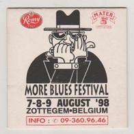 1998 Blues Festival Zottegem Harmonica Bierre Bier ROMY MATER Sous Bock Cartonné Blues Brothers Dessin Drawing - Portavasos