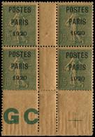 ** Collection Spécialisée 15c. Semeuse Lignée - Préo 25 : 15c. Vert-gris, POSTES PARIS 1920, Papier GC Chamois Foncé, BL - 1903-60 Semeuse Lignée