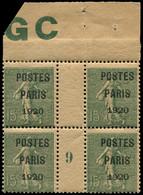 * Collection Spécialisée 15c. Semeuse Lignée - Préo 25 : 15c. Vert-gris, POSTES PARIS 1920, BLOC De 4 Mill.9, Bdf Manche - 1903-60 Semeuse Lignée