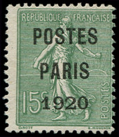 (*) Collection Spécialisée 15c. Semeuse Lignée - Préo 25 : 15c. Vert-gris, POSTES PARIS 1920, Grands Chiffres 1920, TB.  - 1903-60 Semeuse Lignée