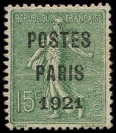 (*) Collection Spécialisée 15c. Semeuse Lignée - Préo 28 : 15c. Vert-olive, POSTES PARIS 1921, TB. Br - 1903-60 Semeuse Lignée