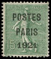 (*) Collection Spécialisée 15c. Semeuse Lignée - Préo 28c : 15c. Olive, POSTES PARIS 1921, 2e S De POSTES Fermé En Forme - 1903-60 Semeuse Lignée