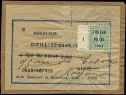 Let Collection Spécialisée 15c. Semeuse Lignée - Préo 28 : 15c. Vert-olive, POSTES PARIS 1921, Bandelette Mill.1 Sur éti - 1903-60 Semeuse Lignée