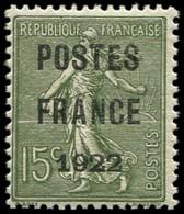** Collection Spécialisée 15c. Semeuse Lignée - Préo 37 : 15c. Olive, POSTES FRANCE 1922, TB. C - 1903-60 Semeuse Lignée