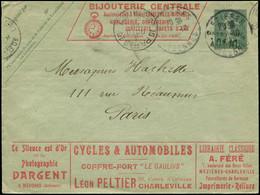 Let Collection Spécialisée 15c. Semeuse Lignée - Env. Annonces N°B21, Surch. Taxe Réduite à 0f10, S. 417 (non Signalé Si - 1903-60 Semeuse Lignée