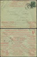 Let Collection Spécialisée 15c. Semeuse Lignée - Env. Annonces N°B21a2, Surch. Taxe Réduite à 0f10, S. 403 Elbeuf Pub PH - 1903-60 Semeuse Lignée