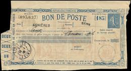 Let Collection Spécialisée 15c. Semeuse Lignée - Bon De Poste, Timbre Bleu, Obl. ASNIERES 13/3/06, TB - 1903-60 Semeuse Lignée