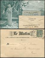"""Let Collection Spécialisée 15c. Semeuse Lignée - N°130 Perforé M Obl. CHERBOURG 23/7/(05) S. CP """"LE MATIN"""", Concours Col - 1903-60 Semeuse Lignée"""