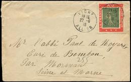 """Let Collection Spécialisée 15c. Semeuse Lignée - N°130 Sur Porte-Timbre """"LA FRANCE AU SACRE COEUR"""" Obl. VICHY 27/9/18 S. - 1903-60 Semeuse Lignée"""