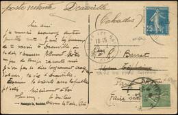 Let Collection Spécialisée 15c. Semeuse Lignée - N°130 Obl. DEAUVILLE 26/8/27 Utilisé En Taxe De Poste Restante Sur CP A - 1903-60 Semeuse Lignée