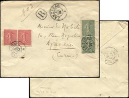 Let Collection Spécialisée 15c. Semeuse Lignée - N°130 PAIRE Et 129 PAIRE Obl. Càd ZANZIBAR 31/7/04 Sur Env. Rec., Arr.  - 1903-60 Semeuse Lignée
