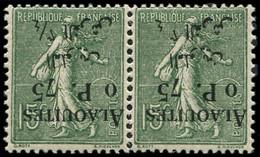 * Collection Spécialisée 15c. Semeuse Lignée - ALAOUITES 3 : 0p.75 Sur 15c. Vert-olive, PAIRE Surch. RENVERSEE, Un Ex. 0 - 1903-60 Semeuse Lignée