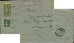Let Collection Spécialisée 15c. Semeuse Lignée - SYRIE 35 Et 39 PAIRE Obl. ALEP 10/4/21 S. Env., Grand Cachet Rouge Bili - 1903-60 Semeuse Lignée