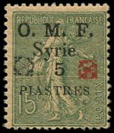 ** Collection Spécialisée 15c. Semeuse Lignée - SYRIE 52 : 5pi. Sur 15c. Vert-olive, DOUBLE Fleuron D'Alep Noir Et Rouge - 1903-60 Semeuse Lignée