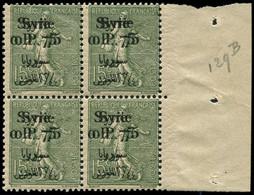 ** Collection Spécialisée 15c. Semeuse Lignée - SYRIE 129 : 0p.75 Sur 15c. Vert-olive, DOUBLE Surcharge, BLOC De 4 Bdf,  - 1903-60 Semeuse Lignée