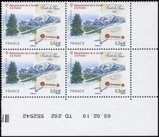 ** VARIETES - 4441   Traité De Savoie, 0,56, Teinte De Fond DECALEE, BLOC De 4 Cdf TD 202 Daté 3/2/10, TB - Variedades Y Curiosidades
