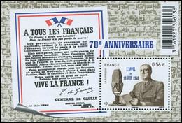 ** VARIETES - 4493   Appel Du 18 Juin 1940, 0,56, BF Avec Forte Tache De Phospho, TB - Variedades Y Curiosidades