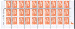 ** VARIETES - 5254   Marianne D'Yz, 1,00 Orange, BLOC De 30 Bas De Feuille TD 205, Daté 3/7/18 + BOPST, 1 Ex. SANS PHOSP - Variedades Y Curiosidades