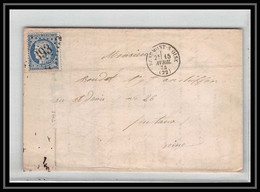 0741- Beaumont-sur-Oise Val D'oise Cères N° 60 T1 GC 393 15/4/1874 Pour Puteaux LAC Lettre Cover France - 1849-1876: Classic Period