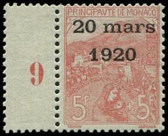 ** MONACO 43 : 5f. + 5f. Rose Sur Verdâtre, Mill.9, Fraîcheur Postale, Superbe - Monaco