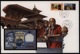 Geldschein Banknote Banknotenbrief Nepal Schein + Briefmarkenausgabe Exotisch - Banknoten