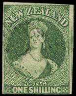 NOUVELLE-ZELANDE 4 : 1s. Vert, Oblitération Légère, Pelurage, Sinon TB - New Zealand