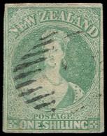 NOUVELLE-ZELANDE 11 : 1s. Vert-bleu Pâle, Obl., Restauré, Aspect TB - New Zealand