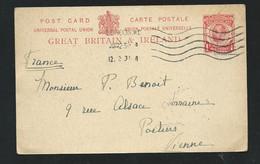 Entier , Stationary Pour La France  -   LL18316 - Luftpost & Aerogramme