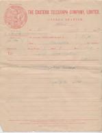 CYPRUS 1915 THE EASTERN TELEGRAPH COMPANY TELEGRAM CYPRUS STATION NICOSIA OFFICE - Zypern (...-1960)