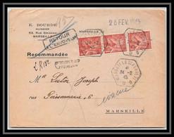 108556 Lettre Recommandé Retour à L'envoyeur Bouches Du Rhone 652 Iris Bande De 3 1945 Marseille Saint Ferréol Hexagonal - 1921-1960: Periodo Moderno