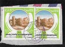 SAUDI ARABIA 1977 MOENJODARO ( PAKISTAN) UNESCO SAVE MOENJODARO COMPAIGN STAMPS USED ON PIECE. - Saudi Arabia
