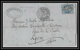 116152 Lac Lettre Cover Bouches Du Rhone N°45B Bordeaux GC 2240 F Marseille Centrale Pour Lyon Rhone 21/1/1871 - 1849-1876: Classic Period