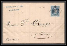 116148 Lsc Lettre Cover Bouches Du Rhone N°29 Napoléon GC 2240 F Marseille Centrale Pour Nice 1871 - 1849-1876: Klassik