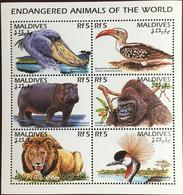 Maldives 1996 Endangered Animals Birds Sheetlet MNH - Zonder Classificatie