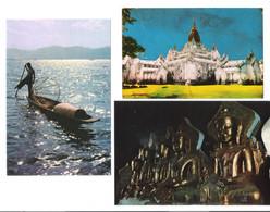 3 Cards - Myanmar - Burma - Ananda Temple - Buddha Images In Pindaya Caves - Fisherman Of Inle Lake - Myanmar (Burma)