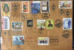 Thailand Registered Cover 2003 With King Gold Stamp & Many Other Countries Joined Bangkok World Philately Exhibiiton - Thailand