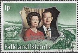 FALKLAND ISLAND 1972 Royal Silver Wedding - 1p - Green FU - Falklandeilanden