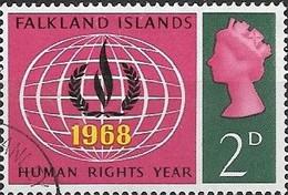 FALKLAND ISLAND 1968 Human Rights Year - 2d - Globe And Human Rights Emblem FU - Falklandeilanden