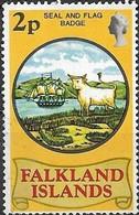 FALKLAND ISLAND 1975 50th Anniversary Of Heraldic Arms - 2p - Seal And Flag Badge MNG - Falklandeilanden