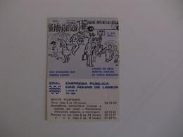 Water Água EPAL Empresa Portuguesa Das Águas Livres Portugal Portuguese Pocket Calendar 1980 - Kalender
